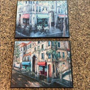 2 French scenes plaques paintings